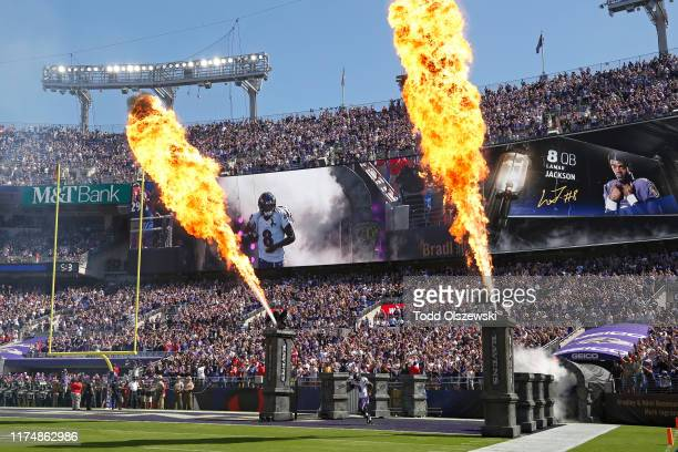 Quarterback Lamar Jackson of the Baltimore Ravens takes the field prior to the game against the Arizona Cardinals at MT Bank Stadium on September 15...