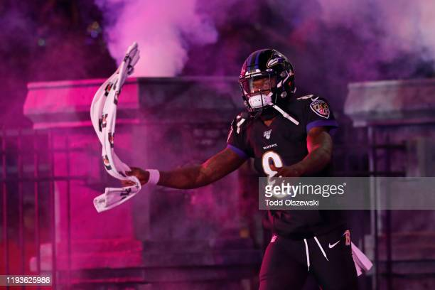 Quarterback Lamar Jackson of the Baltimore Ravens takes the field prior to the game against the New York Jets at MT Bank Stadium on December 12 2019...