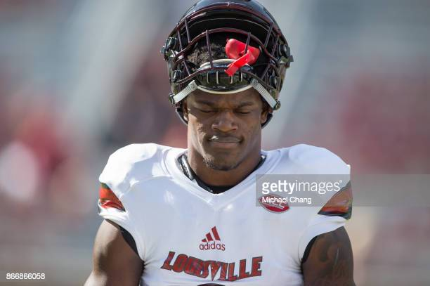 Quarterback Lamar Jackson of the Louisville Cardinals prior to their game against the Florida State Seminoles at Doak Campbell Stadium on October 21...