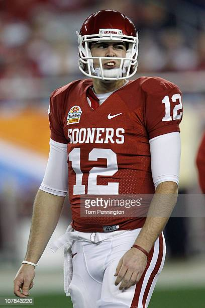 Quarterback Landry Jones of Oklahoma Sooners makes a face before taking on the Connecticut Huskies in the Tostitos Fiesta Bowl at the Universtity of...
