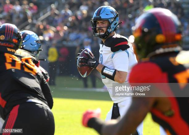 Quarterback Landry Jones of the Dallas Renegades looks to pass what would be a touchdown pass in the second half of the game against the Los Angeles...