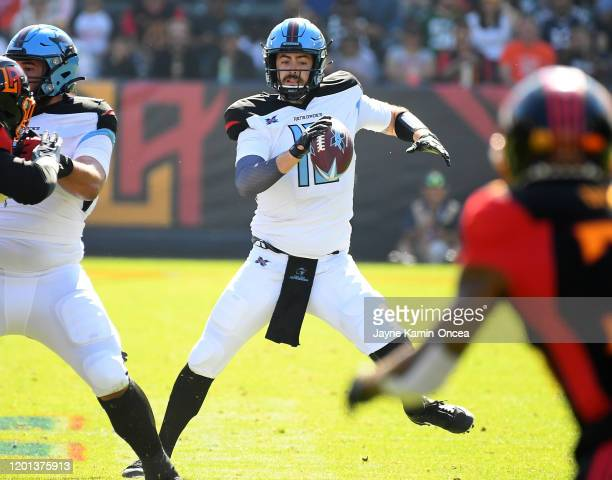 Quarterback Landry Jones of the Dallas Renegades scrambles in the pocket in the first half of the XFL game against the Los Angeles Wildcats at...