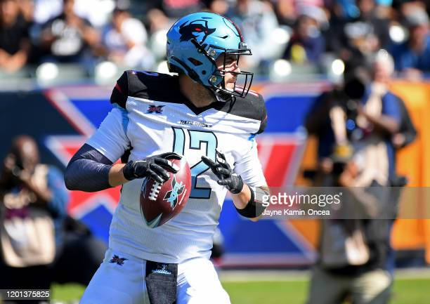 Quarterback Landry Jones of the Dallas Renegades sets to pass in the first half of the XFL game against the Los Angeles Wildcats at Dignity Health...