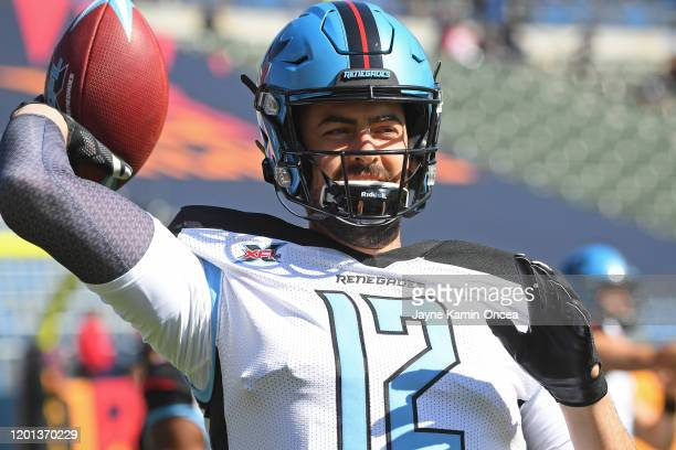 Quarterback Landry Jones of the Dallas Renegades warms up before the XFL game against the Los Angeles Wildcats at Dignity Health Sports Park on...