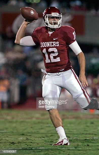 Quarterback Landry Jones of the Oklahoma Sooners looks to throw against the Kansas State Wildcats on September 22 2012 at Gaylord FamilyOklahoma...