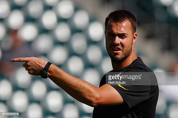 Quarterback Landry Jones of the Pittsburgh Steelers reacts during warm ups before playing against the Philadelphia Eagles at Lincoln Financial Field...