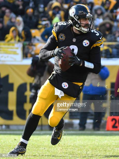 Quarterback Landry Jones of the Pittsburgh Steelers rolls out to pass in the second quarter of a game on December 31 2017 against the Cleveland...