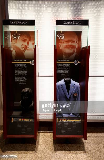 Quarterback Len Dawson and Chiefs Founder and Owner Lamar Hunt's 'Hall Of Fame' memorabilia encased inside the Kansas City Chiefs 'Hall Of Honor'...