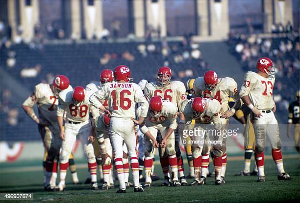 Quarterback Len Dawson of the Kansas City Chiefs calls the next play in the huddle during Super Bowl I on January 15 1967 against the Green Bay...