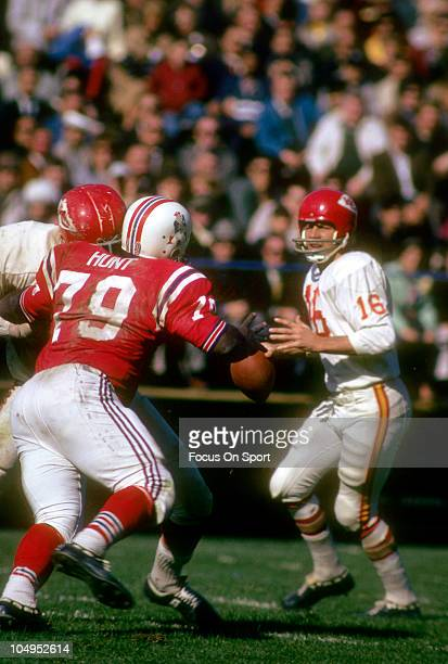 Quarterback Len Dawson of the Kansas City Chiefs drops back to pass against the Boston Patriots during an NFL football game September 25 1966 at...