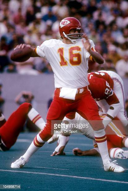 Quarterback Len Dawson of the Kansas City Chiefs drops back to pass against the New England Patriots during an NFL football game September 23 1973 at...