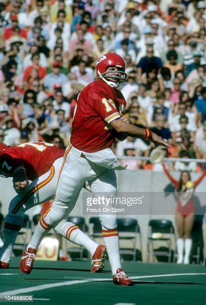 Quarterback Len Dawson of the Kansas City Chiefs throws a pass during an NFL football game circa 1973 at Arrowhead Stadium in Kansas City Missouri...