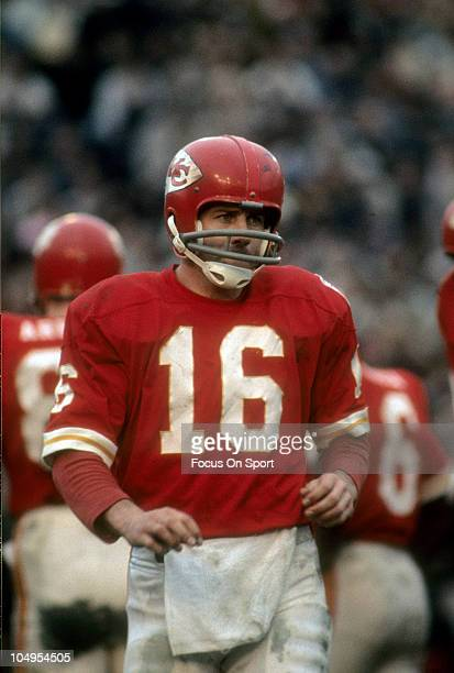 Quarterback Len Dawson of the Kansas City Chiefs walking off the field against the New York Jets during an NFL football game circa 1968 at Municipal...