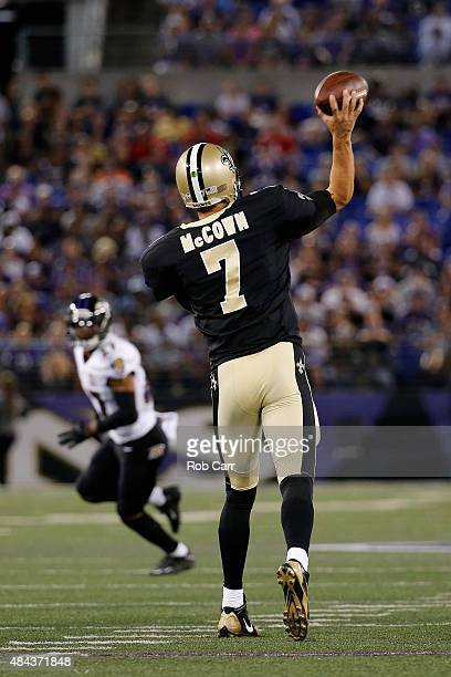 Quarterback Luke McCown of the New Orleans Saints passes against the Baltimore Ravens during their preseason game at MT Bank Stadium on August 13...