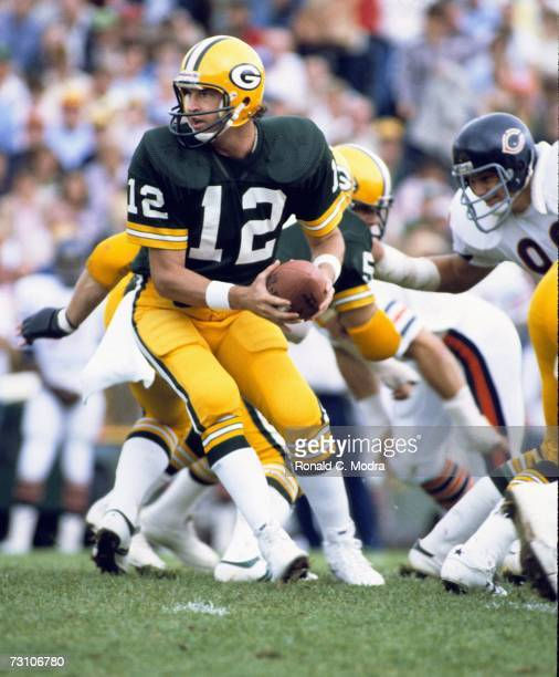 Quarterback Lynn Dickey of the Green Bay Packers goes back to pass against the Chicago Bears on September 6 l981 in Green Bay Wisconsin