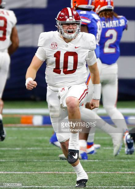 Quarterback Mac Jones of the Alabama Crimson Tide reacts after a touchdown is scored in the second half against the Florida Gators during the SEC...