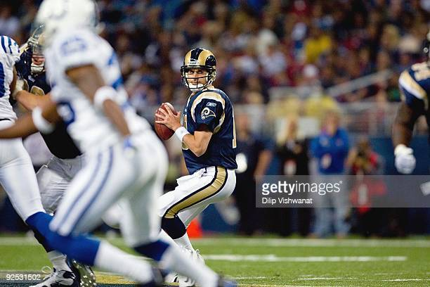 Quarterback Marc Bulger of the St Louis Rams looks to pass the ball against the Indianapolis Colts at the Edward Jones Dome on October 25 2009 in St...