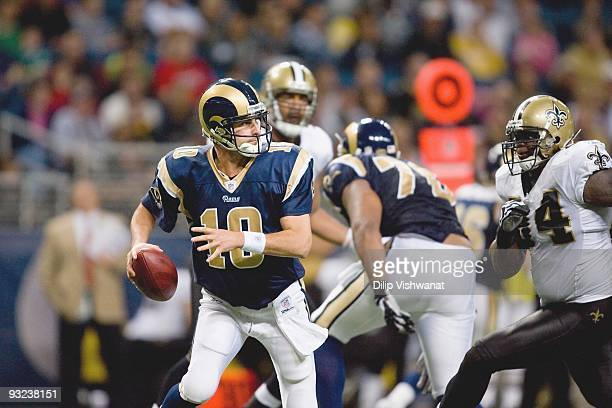 Quarterback Marc Bulger of the St Louis Rams looks to pass the ball during the game against the New Orleans Saints at the Edward Jones Dome on...