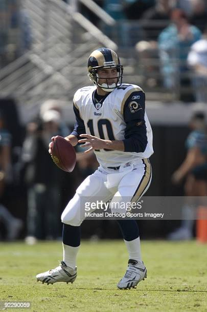 Quarterback Marc Bulger of the St Louis Rams passes during a NFL game against the Jacksonville Jaguars at Jacksonville Municipal Stadium on October...