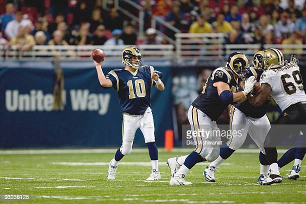 Quarterback Marc Bulger of the St Louis Rams passes the ball during the game against the New Orleans Saints at the Edward Jones Dome on November 15...
