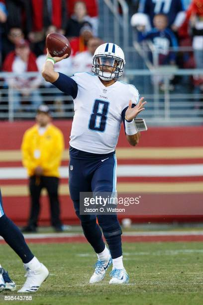Quarterback Marcus Mariota of the Tennessee Titans passes against the San Francisco 49ers during the fourth quarter at Levi's Stadium on December 17...