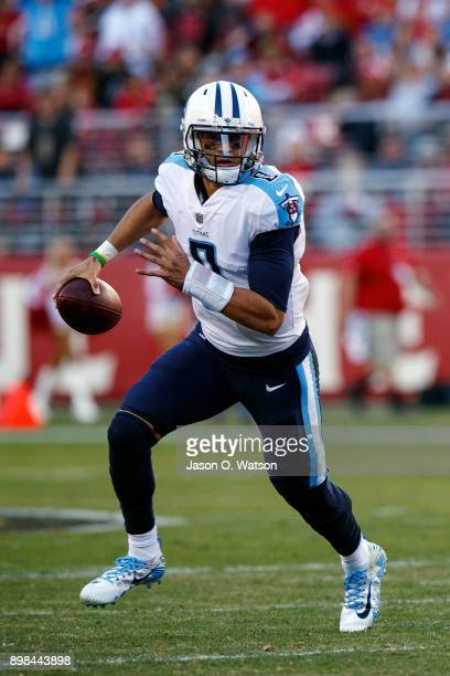 Quarterback Marcus Mariota of the Tennessee Titans scrambles out of the pocket during the third quarter against the San Francisco 49ers at Levi's...
