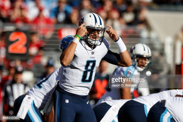 Quarterback Marcus Mariota of the Tennessee Titans signals behind the line of scrimmage during the first quarter against the San Francisco 49ers at...
