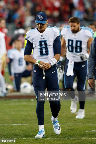 Quarterback Marcus Mariota of the Tennessee Titans walks off the field after the game against the San Francisco 49ers at Levi's Stadium on December...