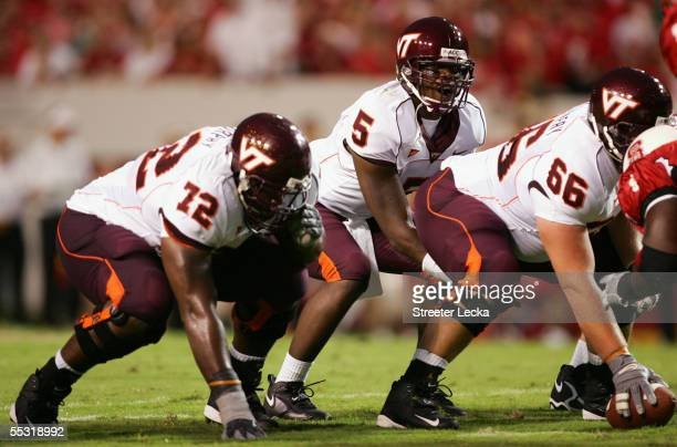 Quarterback Marcus Vick of the Virginia Polytechnic Institute and State University Hokies prepares to snap the ball during the game against the North...