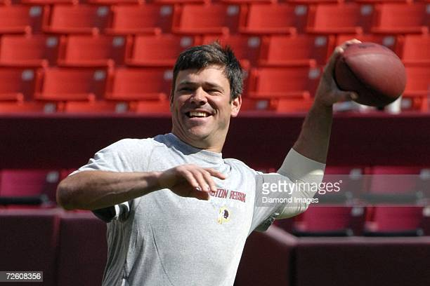Quarterback Mark Brunell of the Washington Redskins warms up prior to a game on October 1 2006 against the Jacksonville Jaguars at Fedex Field in...