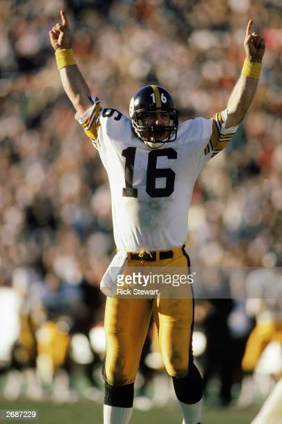 Quarterback Mark Malone of the Pittsburgh Steelers celebrates during a 1984 NFL game