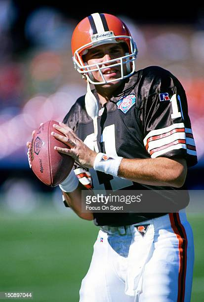 Quarterback Mark Rypien of the Cleveland Browns warms up during pregame warm ups before an NFL football game at Cleveland Municipal Stadium circa...