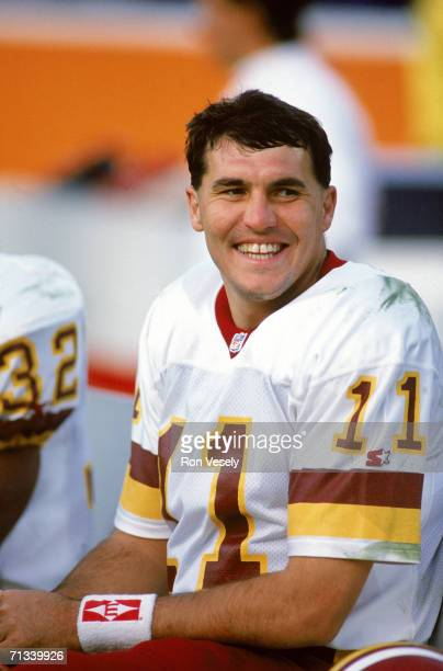 Quarterback Mark Rypien of the Washington Redskins smiles on the sideline in an undated photo Rypien played for the Redskins from 198893