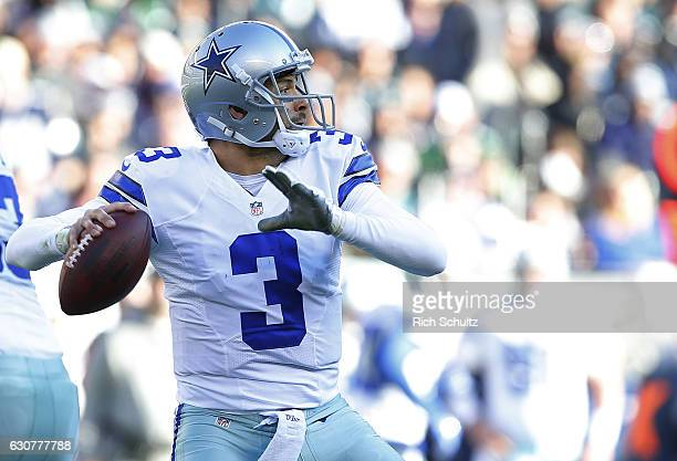 Quarterback Mark Sanchez of the Dallas Cowboys attempts a pass against the Philadelphia Eagles during the third quarter of a game at Lincoln...