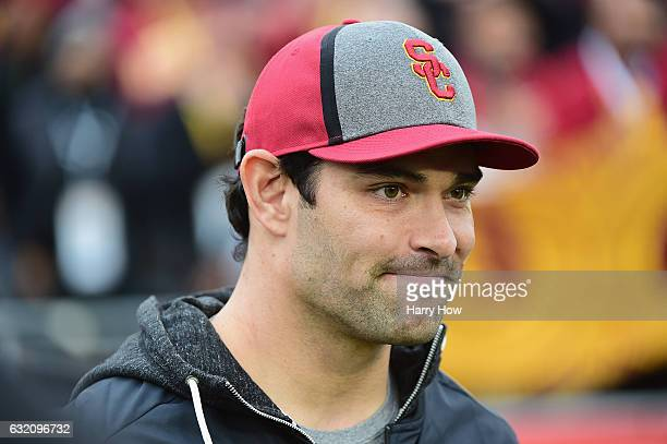 Quarterback Mark Sanchez of the Dallas Cowboys attends the 2017 Rose Bowl Game presented by Northwestern Mutual between the USC Trojans and the Penn...