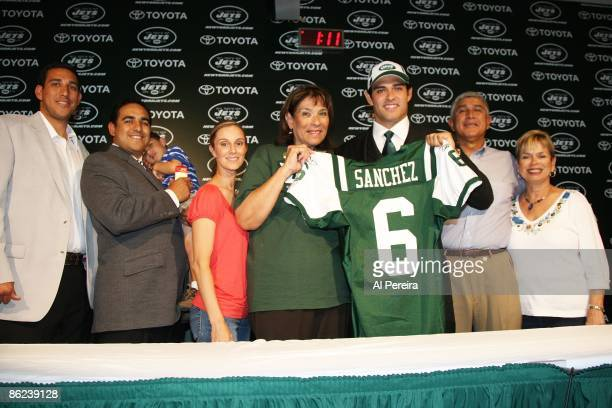 Quarterback Mark Sanchez of the New York Jets and his family visit with the media at the Atlantic Health Jets Training Center in Florham Park New...
