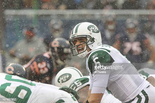 Quarterback Mark Sanchez of the New York Jets calls a play against the Chicago Bears at Soldier Field on December 26 2010 in Chicago Illinois Bears...