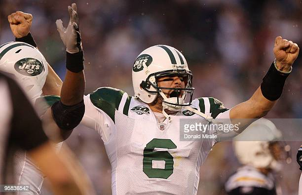 Quarterback Mark Sanchez of the New York Jets celebrates a play against the San Diego Chargers during the AFC Divisional Playoff Game at Qualcomm...