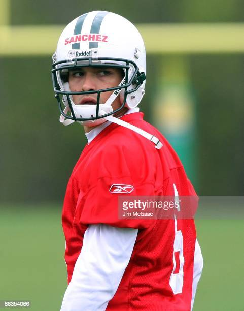 Quarterback Mark Sanchez of the New York Jets looks on during minicamp on May 2 2009 at the Atlantic Health Jets Training Center in Florham Park New...