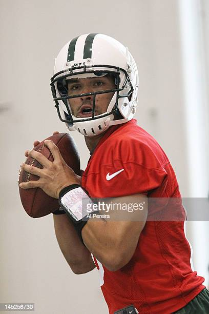 Quarterback Mark Sanchez of the New York Jets participates in Organized Team Activities on May 24 2012 in Florham Park New Jersey
