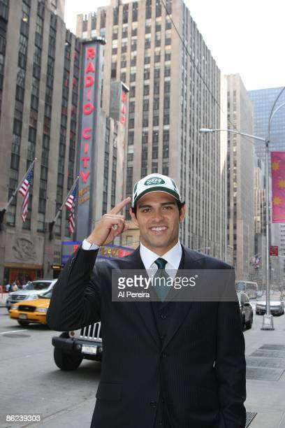 Quarterback Mark Sanchez of the New York Jets smiles as he visits the National Football League Draft at Radio City Music Hall on April 26, 2009 in...
