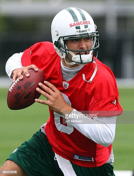Quarterback Mark Sanchez of the New York Jets throws a pass during minicamp on May 2 2009 at the Atlantic Health Jets Training Center in Florham Park...