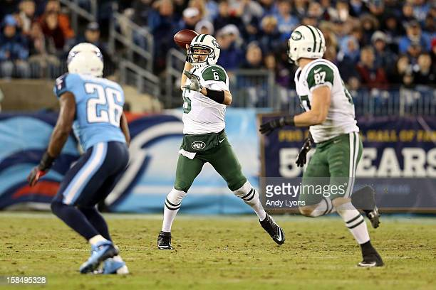 Quarterback Mark Sanchez of the New York Jets throws the ball against the Tennessee Titans at LP Field on December 17 2012 in Nashville Tennessee