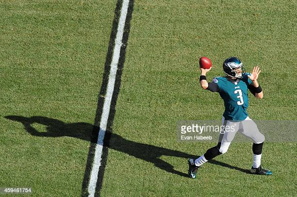 Quarterback Mark Sanchez of the Philadelphia Eagles looks to pass against the Tennessee Titans in the first quarter at Lincoln Financial Field on...