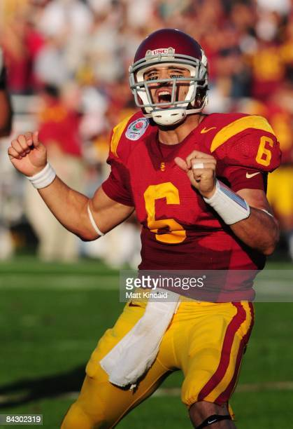 Quarterback Mark Sanchez of the USC Trojans celebrates after throwing a touchdown pass during the 95th Rose Bowl Game presented by Citi against the...