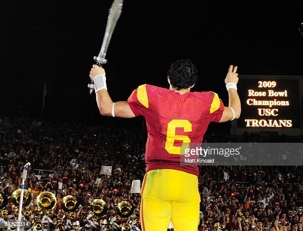 Quarterback Mark Sanchez of the USC Trojans leads the USC band after the 95th Rose Bowl Game presented by Citi against the Penn State Nittany Lions...