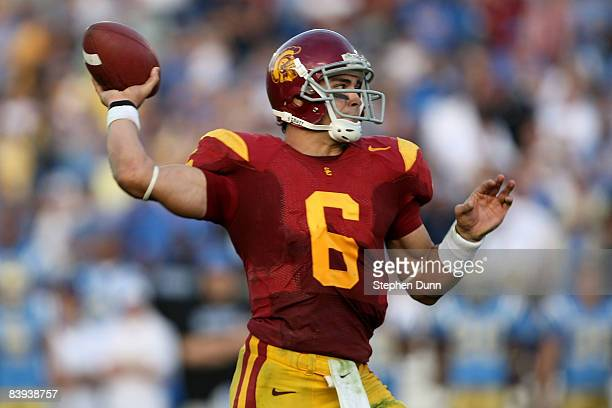 Quarterback Mark Sanchez of the USC Trojans throws a touchdown pass at the beginning of the third quarter against the UCLA Bruins on December 6, 2008...