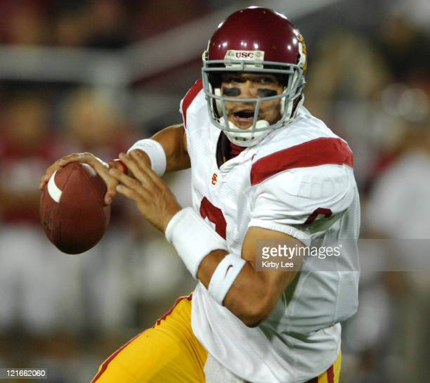 USC quarterback Mark Sanchez scores on a 4yard touchdown run in the fourth quarter of 420 victory over Stanford in Pacific10 Conference football game...