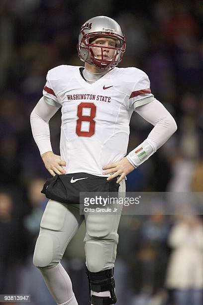 Quarterback Marshall Lobbestael of the Washington State Cougars reacts on the field during the game against the Washington Huskies on November 28,...