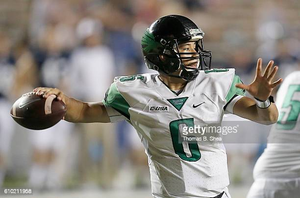 Quarterback Mason Fine of the North Texas Mean Green in the pocket agains the Rice Owls in the second half at Rice Stadium on September 24 2016 in...